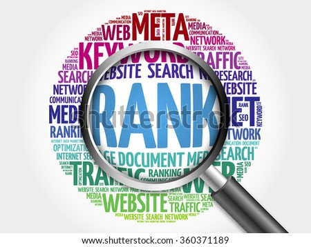 RANK word cloud with magnifying glass, business concept - stock photo