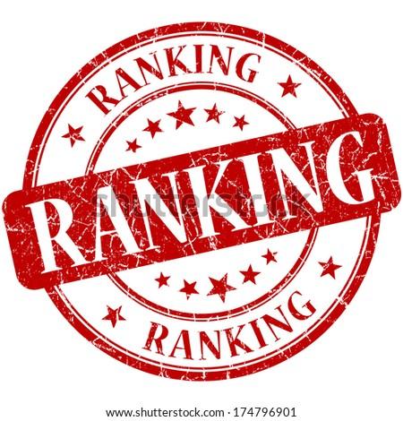 Ranking grunge red round stamp - stock photo