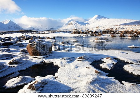 Rannoch Moor and the Black Mount in winter. - stock photo