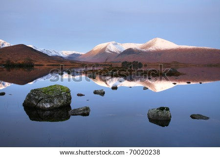 Rannoch Moor in the early morning, near Glencoe in the highlands of Scotland. - stock photo
