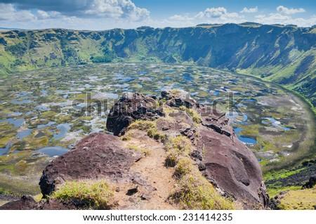 Rano Kau volcano, Easter island (Chile) - stock photo