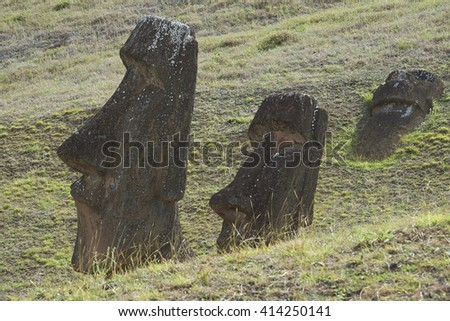 Rano Raraku. Abandoned and partially buried statues on the slopes of the extinct volcano which was the quarry from which the Moai statues of Rapa Nui (Easter Island) were carved. - stock photo