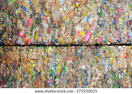 Ranong, Thailand - September 18 : Old  plastic bottles prepared for processing and recycling on September 18, 2012 at Ranong Thailand  - stock photo