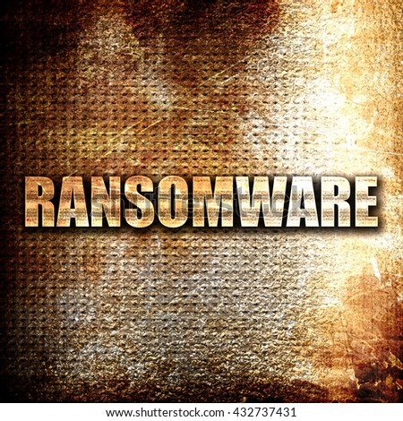 Ransomware, 3D rendering, metal text on rust background - stock photo