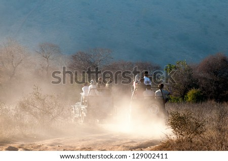 RANTHAMBORE, INDIA - FEBRUARY 4: Tourists experience a dusty safari drive on February 4, 2011 in Ranthambore National Park. Ranthambore is a famous site for tiger encounters. - stock photo
