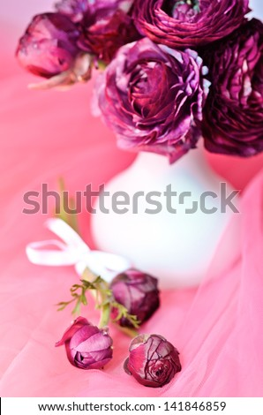 Ranunculus flowers in a white vase on pink background