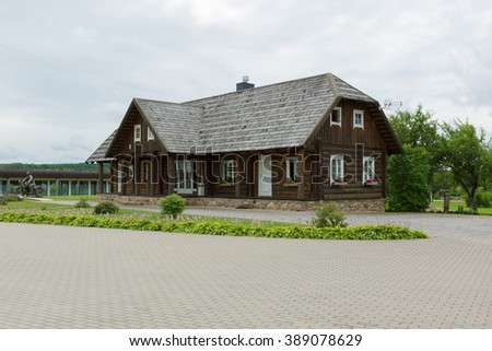 Rapaliai, Lithuania - July 26,2015:  Manor of Golden Deer are the country tourism farmstead, located on picturesque historical Samogitia locality, near Virvyte river in Lithuania.