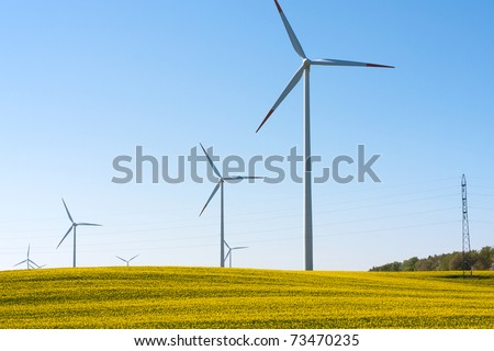Rapeseed field with wind turbines generating electricity - stock photo