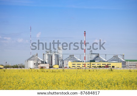 Rapeseed oil factory producing biodiesel. - stock photo