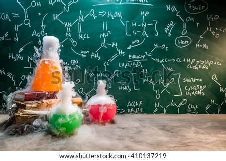 Rapid chemical reaction on chemistry lessons - stock photo