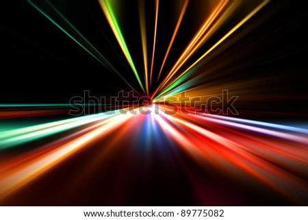 rapid race of night highway - stock photo