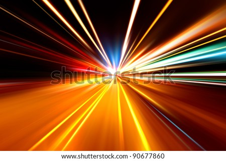 rapid race of night highway - stock photo
