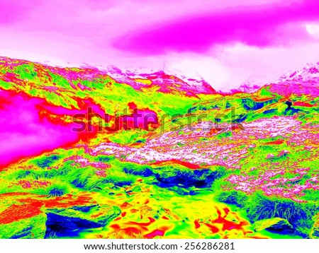 Rapid stream in mountains in infrared photo. Amazing thermography.  Hilly landscape in background.  - stock photo