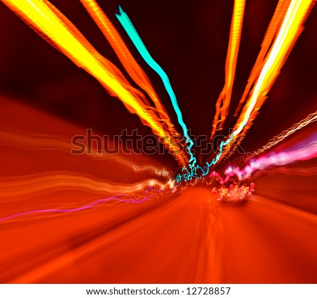 Rapid urban light movement. Abstract view 3 - stock photo