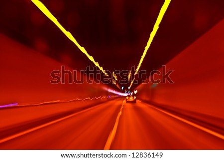 Rapid urban light movement. Abstract view 4 - stock photo