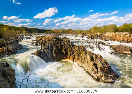 Rapids in the Potomac River at Great Falls Park, Virginia. - stock photo