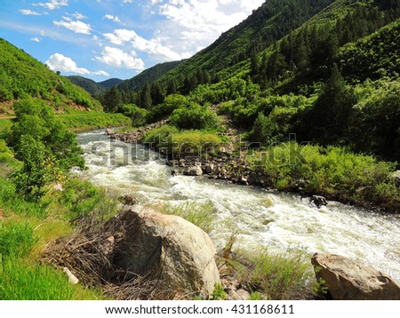 rapids in the south platter river in waterton canyon,  littleton, colorado - stock photo