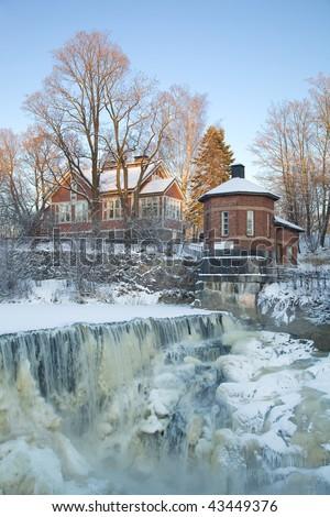 Rapids in winter - stock photo