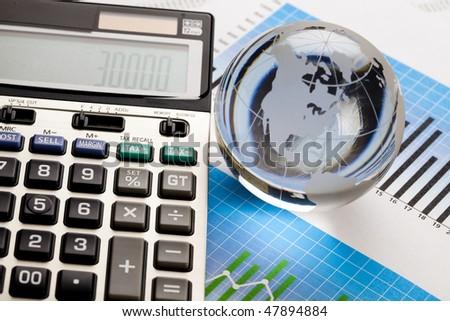 Raport and calculator - stock photo