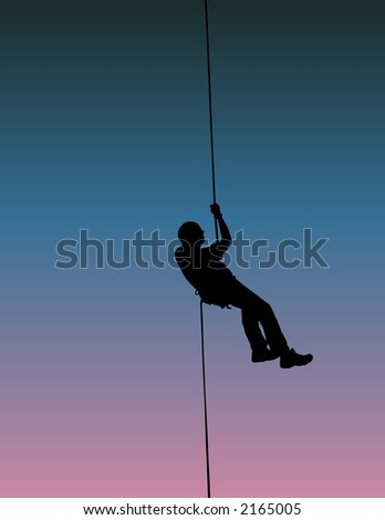Rappelling at Cat's Eye in Billings, Montana. - stock photo