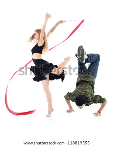 Rapper stands on hands and graceful gymnast girl spins on one leg isolated on white background. - stock photo