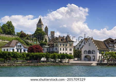 Rapperswil as seen from Lake Zurich, Switzerland - stock photo