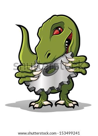 Raptor Mascot Biting Metal Gear - stock photo