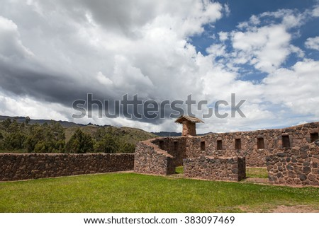Raqch'i , Viracocha temple, sacred Valley, Peru. particular of the house