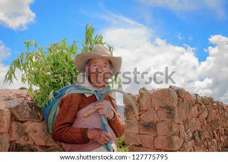 RAQCHI PERU -JANUARY 15: Unidentified Quechua indian man works farming inside Raqchi Ruins, Peru on January 15, 2013. Raqchi Ruins is a popular destination for tourism from all around the world. - stock photo