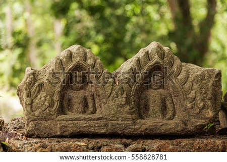 Rare Buddha carvings in Angkor Thom Cambodia
