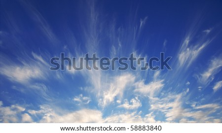 Rare Cirrus Cloud formation on a windy summer evening. - stock photo