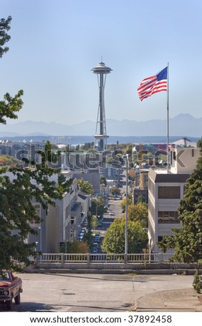 Rare Scenic View of Seattle Space Needle from Capital Hill Neighborhood.