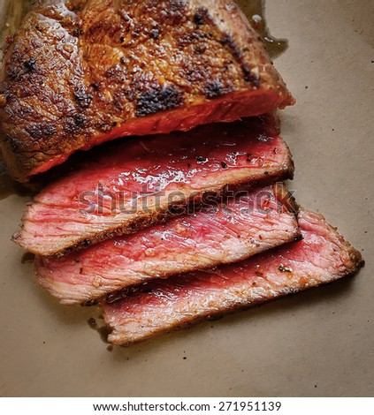 Rare steak medium - stock photo