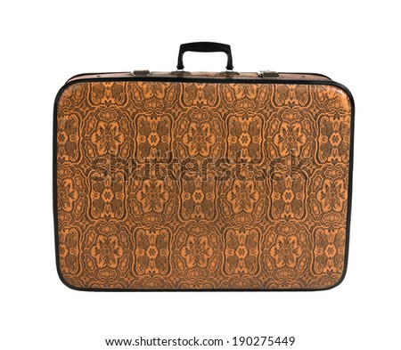 rarity brown leather suitcase, on white background; isolated - stock photo