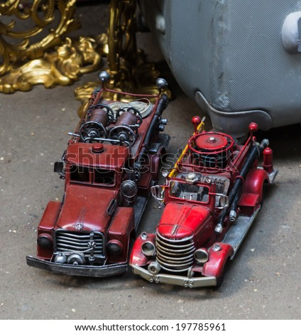 rarity cars at a flea market in Moscow - stock photo