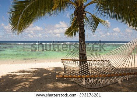 Rarotonga beach and lagoon, in the Cook Island - stock photo