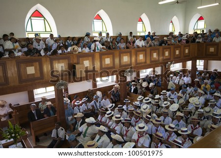 RAROTONGA, COOK ISLANDS - OCT  13: Locals on the Island of Rarotonga gather for their weekly church service in Avarua, on 13 October, 2008. Cook Islands are famous for their church singing. - stock photo