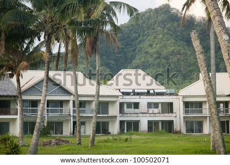 RAROTONGA, COOK ISLANDS - OCTOBER 8: The unfinished Sheraton Hotel remains a derelict eyesore on the resort island of Rarotonga on 8 October, 2008.  The project went bust in the early 1990's. - stock photo