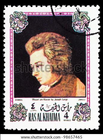RAS AL KHAIMA - CIRCA 1972: A stamp printed in Ras Al Khaima shows painting of Saverio dalla Rosa - Mozart in Verona, series, circa 1972 - stock photo