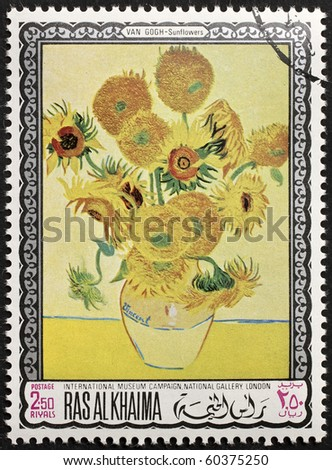 "RAS AL KHAIMA (EMIRATE) - CIRCA 1968: a stamp printed in Ras-Al-Khaima (UAE) shows  ""Sunflowers"", the famous picture by Vincent Van Gogh. Ras-Al-Khaima, circa 1968 - stock photo"