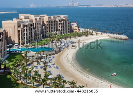 RAS Al KHAIMAH, UAE - JUNE 27, 2016: Luxury 5 stars DoubleTree by Hilton Hotel Resort and Spa Marjan Island - 485 rooms, pools, beach, full-service spa. A lovely beach area - 650-meters of soft sands.