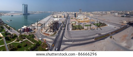 RAS AL KHAIMAH, UAE - SEPTEMBER 16: Aerial view of Ras al Khaimah on September 16, 2011 in Ras al Khaimah, UAE. RAK is the fifth largest city in the UAE with 387,985 inhabitants as of 2010 - stock photo