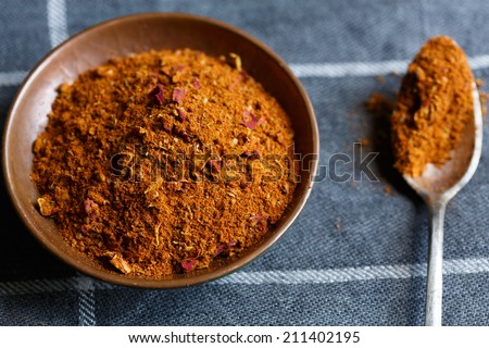 Ras el hanout, a spice mix from North Africa - stock photo
