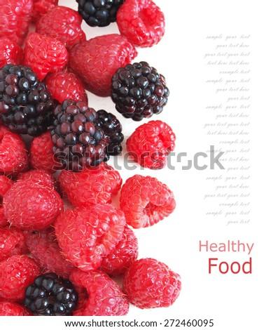 Raspberries background - stock photo