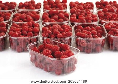 Raspberries in bowls, close-up - stock photo