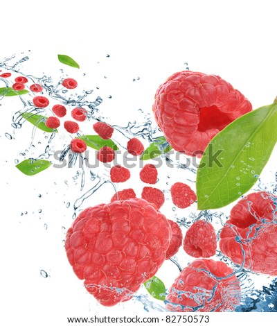 Raspberries in motion. Isolated on white background. - stock photo