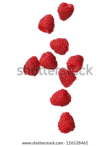 Raspberries isolated on white background, close-up - stock photo