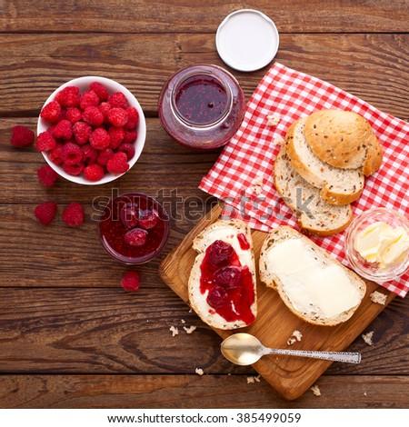 Raspberries jam. Macro shot selective focus - stock photo