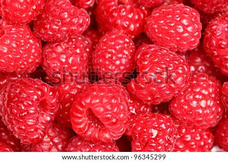 Raspberries - raspberry texture background of fresh red ripe berries. Close up image with great texture and detail. - stock photo