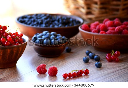 Raspberries, red currants and blueberries in bowls on the table